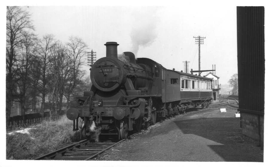 46443 and inpector's coach Blackwell sidings 1955